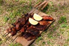 Испеченное мясо на зеленом луге Стоковые Фотографии RF