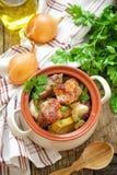 Испеченное мясо с картошкой Стоковая Фотография