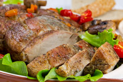Испеченное мясо с овощами Стоковые Изображения