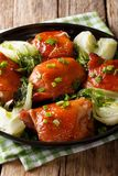Испеченные бедренные кости цыпленка с Пак choy, имбирем, чесноком и зеленым oni Стоковая Фотография RF