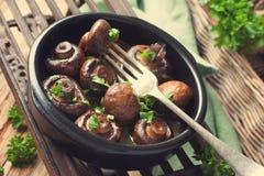 Испеченные грибы champignons Стоковое Изображение