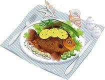 испеченные овощи плиты рыб Стоковые Фотографии RF