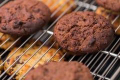 Испеченные печенья шоколада кладя на шкаф Стоковое Изображение