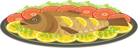 испеченные рыбы тарелки Стоковое Изображение
