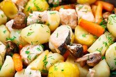 Испеченные семги с картошкой, грибами и морковью стоковая фотография