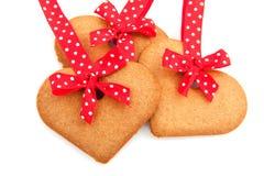 испеченные сердца gingerbread Стоковые Изображения RF