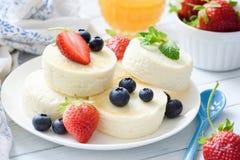 Испеченные чизкейк или syrniki творога с плодоовощами ягоды Здоровый десерт лета стоковое фото