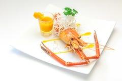 Испеченные crayfish на тарелке Стоковые Фото