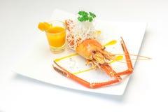 Испеченные crayfish на тарелке Стоковое фото RF