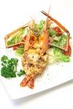 Испеченные crayfish на тарелке Стоковые Фотографии RF