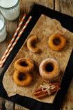 Испеченные donuts тыквы с стеклами молока Стоковая Фотография RF
