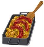 Испеченные poratoes и зажаренные в духовке сосиски бесплатная иллюстрация