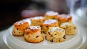 Испеченные scones плодоовощ на белом диске Стоковые Фотографии RF