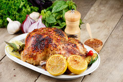 Испеченный вкусный горячий цыпленок Стоковые Изображения RF