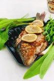 Испеченный карп marinated в лимоне и специях с зеленым салатом лист на светлой предпосылке Стоковые Изображения