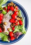 Испеченный морской волк с томатами и базилик на белой предпосылке Стоковые Изображения RF