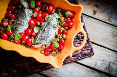 Испеченный морской волк с томатами и базилик на деревенском деревянном backgroun Стоковая Фотография