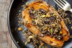 Испеченный сладкий картофель заполненный с семенами и клюквами диких рисов Стоковое фото RF