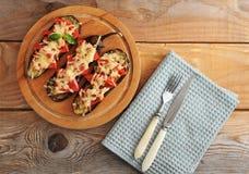 испеченный томат баклажана сыра Стоковое фото RF