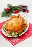 Испеченный цыпленок с луками Стоковые Изображения RF