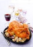 Испеченный цыпленок с чесноком Стоковая Фотография