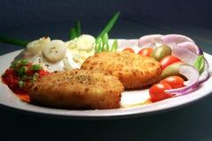 испеченный feta тарелки Стоковая Фотография