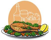 испеченный salmon стейк иллюстрация штока