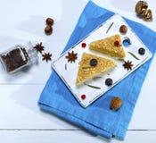 2 испеченных торта Наполеон с сливк Стоковое Изображение