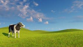 Испещрянная молочная корова на зеленые луга иллюстрация штока