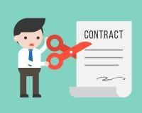 Использование бизнесмена scissor отрезанный документ контракта, situat дела иллюстрация вектора