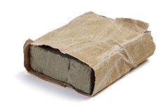 Используемая бумага песка на белой предпосылке стоковое изображение rf