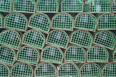 используемые ловушки португалки омара рыболовов Стоковое фото RF