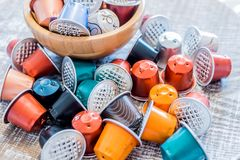 Используемые стручки кофе Стоковое Фото