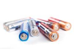 Используемые устранимые батареи стоковые фото