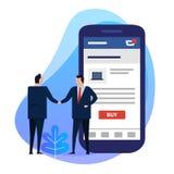 Используя умный телефон app для электронной коммерции с кнопкой покупки Рукопожатие бизнесмена соглашается сделка дела стоковое фото rf