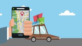 Используя GPS app от анимации smartphone HD бесплатная иллюстрация