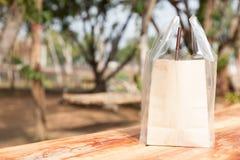 используемая бумага мешка коричневая сделанная Стоковое Изображение