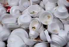 Используемые пищевые контейнеры пены Стоковая Фотография RF