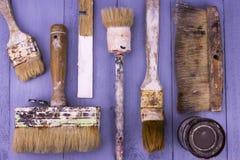 Используемые paintbrushes Стоковое Фото