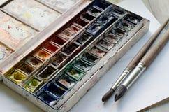 Используемый paintbox акварели стоковое фото