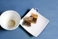 2 используемых пакетика чая Стоковое фото RF