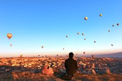 Использующий горячий воздух воздушный шар, Cappadocia, Турция Стоковые Фотографии RF