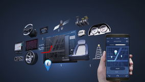 Используя передвижное применение, умный телефон, слушая передвижная музыка, аудиоплейер развлечений анимация значка 3D иллюстрация вектора