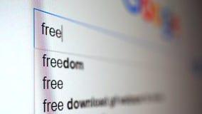 Используя поисковую систему интернета для того чтобы считать информацию на слове свободный Видео макроса акции видеоматериалы