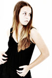испуганная девушка рассматривая плечо предназначенное для подростков Стоковые Изображения