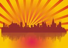испускает лучи megacity Стоковая Фотография RF