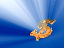 испуская лучи золото доллара Стоковое фото RF