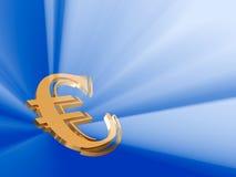 испуская лучи золото евро Стоковое Изображение