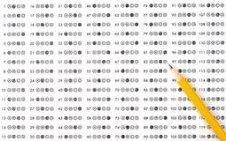 испытание листа счета ответов Стоковая Фотография