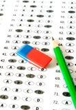 испытание листа счета ответов Школа и концепция образования Стоковые Изображения RF